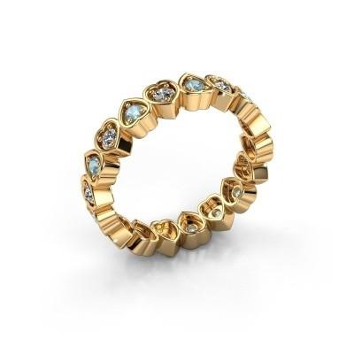 Stackable ring Pleun 585 gold aquamarine 2 mm
