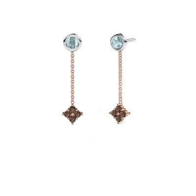 Picture of Drop earrings Ardith 585 rose gold smokey quartz 2 mm