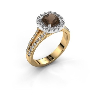 Verlovingsring Francesca 585 goud rookkwarts 6 mm