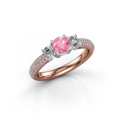 Foto van Verlovingsring Marielle RND 585 rosé goud roze saffier 5 mm