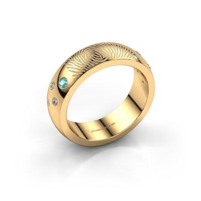 Foto van Ring Minke 585 goud blauw topaas 2 mm