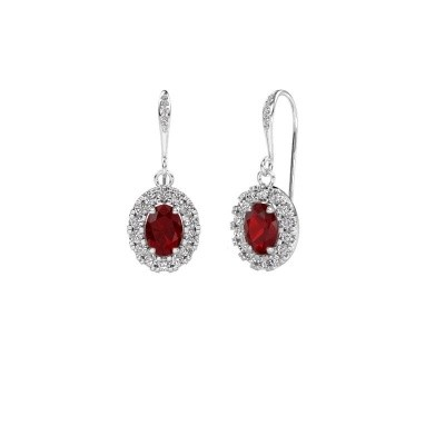 Picture of Drop earrings Jorinda 2 375 white gold ruby 7x5 mm