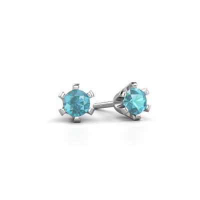 Oorstekers Shana 585 witgoud blauw topaas 4 mm