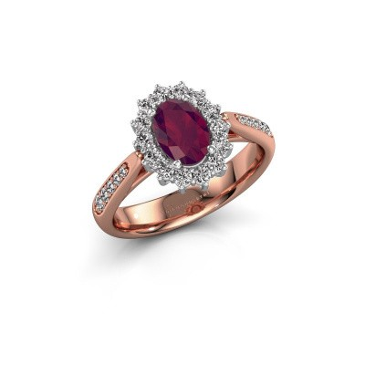 Verlovingsring Margien 2 585 rosé goud rhodoliet 7x5 mm