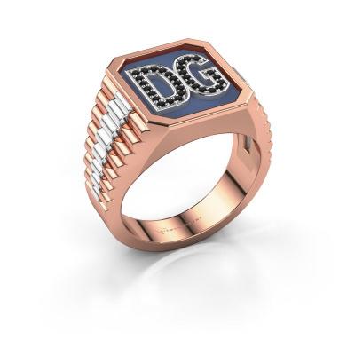 Foto van Zegelring Mike 585 rosé goud zwarte diamant 0.006 crt