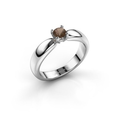 Promise ring Katrijn 950 platinum smokey quartz 4.2 mm