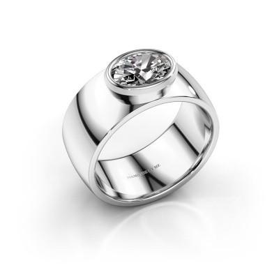 Ring Wilma 1 925 zilver zirkonia 8x6 mm