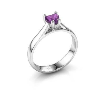 Engagement ring Sam Heart 925 silver amethyst 5 mm