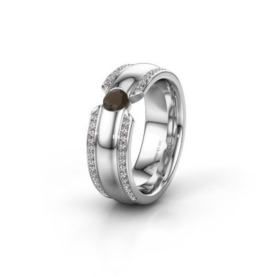 Wedding ring WHR0575L 585 white gold smokey quartz ±7x2 mm