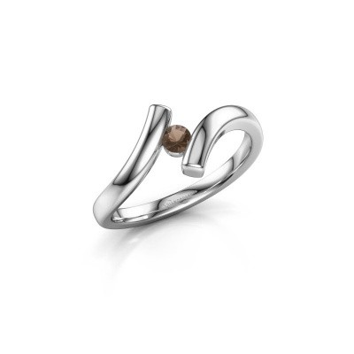 Foto van Ring Amy 585 witgoud rookkwarts 3 mm