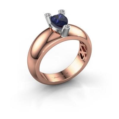 Foto van Ring Cornelia Pear 585 rosé goud saffier 7x5 mm