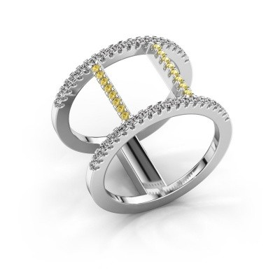Ring Amee 925 zilver gele saffier 1.2 mm