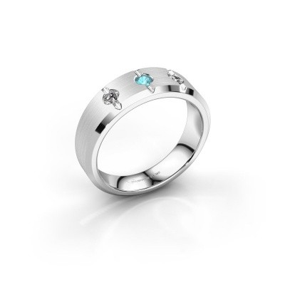 Picture of Men's ring Remco 375 white gold blue topaz 2.7 mm