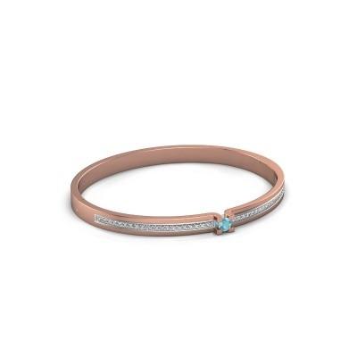 Armband Myrthe 585 rosé goud blauw topaas 4 mm