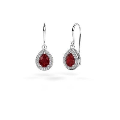 Picture of Drop earrings Beverlee 1 950 platinum ruby 7x5 mm
