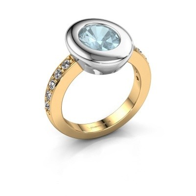 Ring Selene 2 585 gold aquamarine 9x7 mm