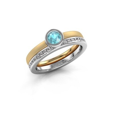 Foto van Ring Cara 585 goud blauw topaas 4 mm
