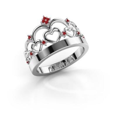 Ring Kroon 1 925 zilver robijn 1 mm