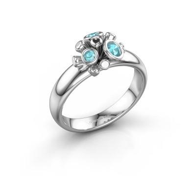 Ring Pameila 925 zilver blauw topaas 2 mm