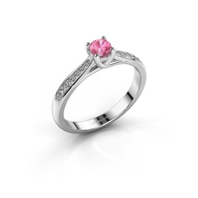 Foto van Verlovingsring Mia 2 950 platina roze saffier 4.2 mm