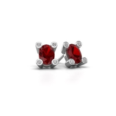 Picture of Stud earrings Cornelia Oval 375 white gold ruby 7x5 mm
