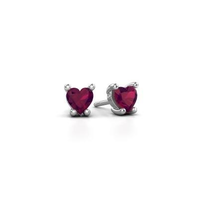 Foto van Oorbellen Sam Heart 585 witgoud rhodoliet 5 mm
