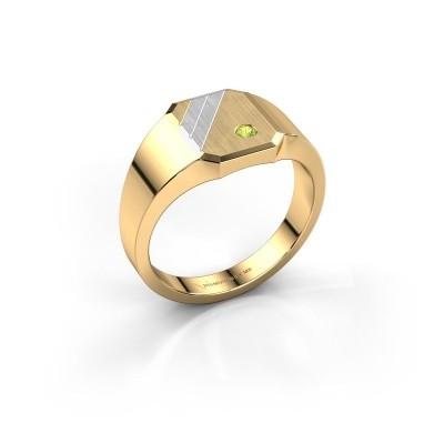 Foto van Zegelring Patrick 1 585 goud peridoot 2 mm
