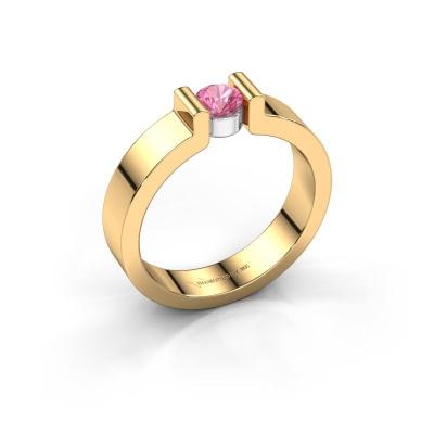 Verlovingsring Isabel 1 585 goud roze saffier 4 mm