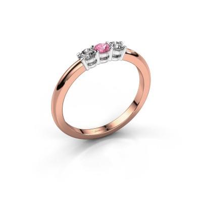 Foto van Verlovingsring Michelle 3 585 rosé goud roze saffier 3 mm