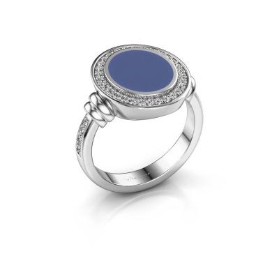 Siegelring Servie 2 925 Silber Blau Emaille 12x10 mm