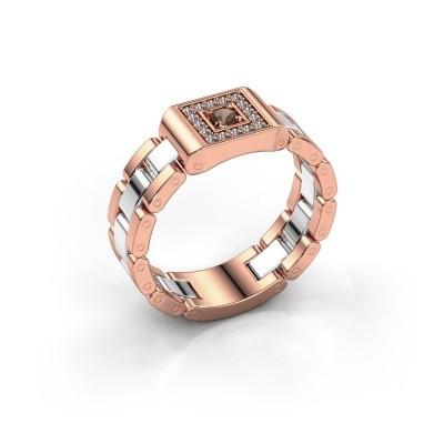 Foto van Rolex stijl ring Giel 585 rosé goud rookkwarts 2.7 mm