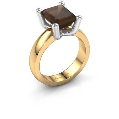 Ring Clelia EME 585 gold smokey quartz 10x8 mm