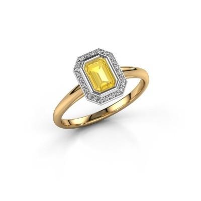 Verlovingsring Noud 1 EME 585 goud gele saffier 6x4 mm