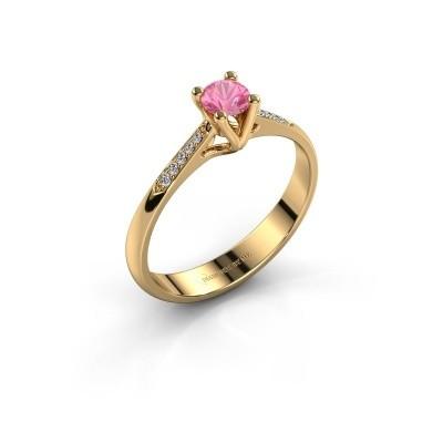 Promise ring Janna 2 375 goud roze saffier 4 mm