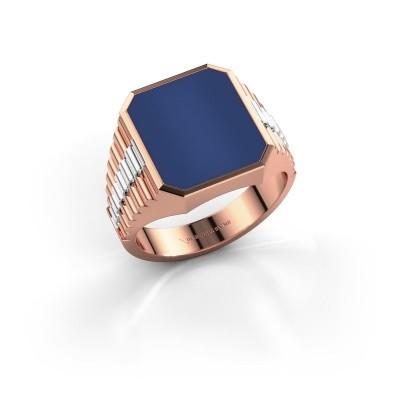 Foto van Zegelring Brent 3 585 rosé goud lapis lazuli 14x12 mm