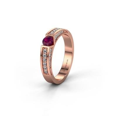 Trouwring WH2098L 375 rosé goud rhodoliet ±4x3 mm