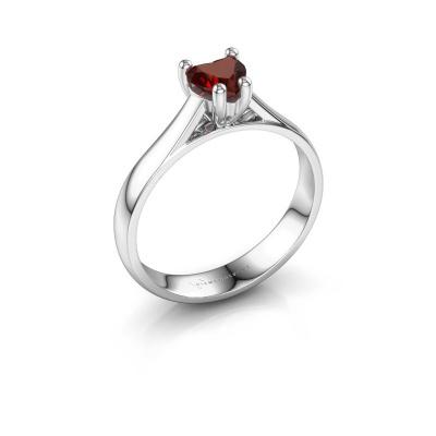 Engagement ring Sam Heart 585 white gold garnet 5 mm