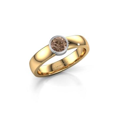Ring Ise 1 585 goud bruine diamant 0.40 crt