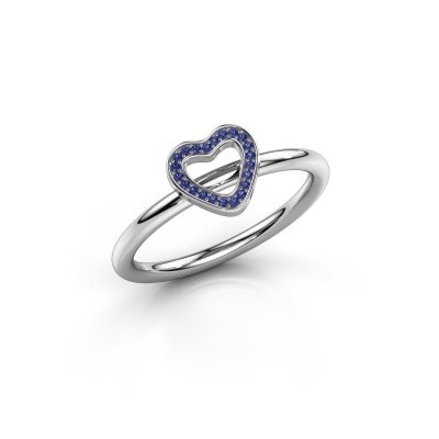 Foto van Ring Shape heart small 375 witgoud saffier 0.8 mm