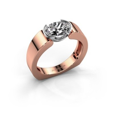 Ring Tonya 585 rosé goud zirkonia 8x6 mm
