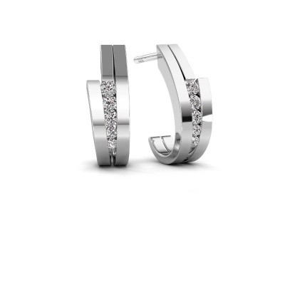 Photo de Boucles d'oreilles Cato 585 or blanc diamant synthétique 0.25 crt