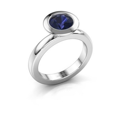 Stacking ring Trudy Round 585 white gold sapphire 7 mm