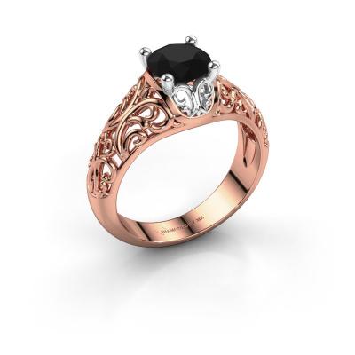 Ring Mirte 585 rosé goud zwarte diamant 1.30 crt