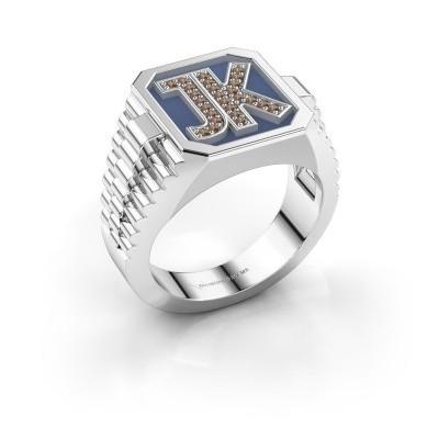 Foto van Zegelring Mike 585 witgoud bruine diamant 0.005 crt