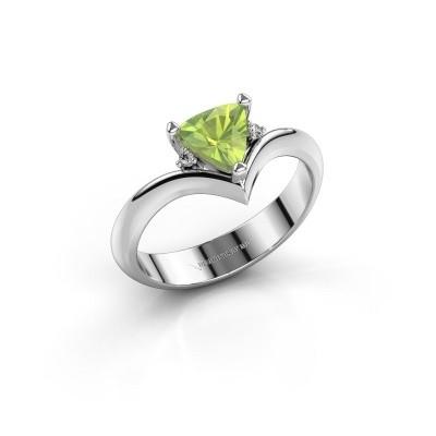 Ring Arlette 585 witgoud peridoot 7 mm