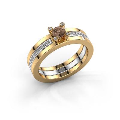 Bild von Ring Alisha 585 Gold Braun Diamant 0.36 crt