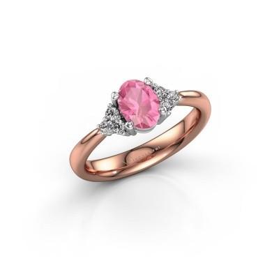 Foto van Verlovingsring Aleida OVL 1 585 rosé goud roze saffier 7x5 mm