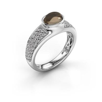 Ring Tatyana 375 white gold smokey quartz 7x5 mm
