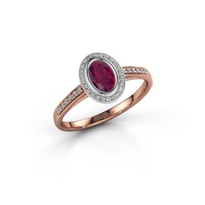 Engagement ring Noud 2 OVL 585 rose gold rhodolite 6x4 mm