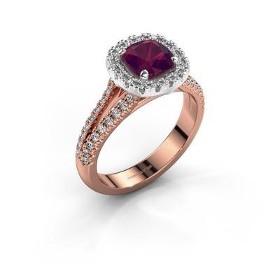 Verlovingsring Francesca 585 rosé goud rhodoliet 6 mm